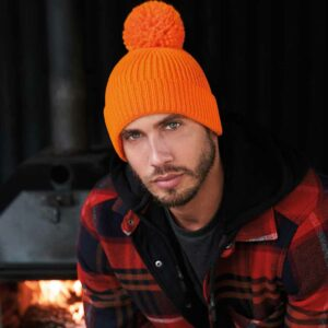 Beechfield Engineered Knit Ribbed Pom Pom Beanie - BB382