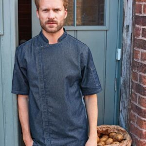 Premier Short Sleeve Zipped Chefs Jacket - PR906