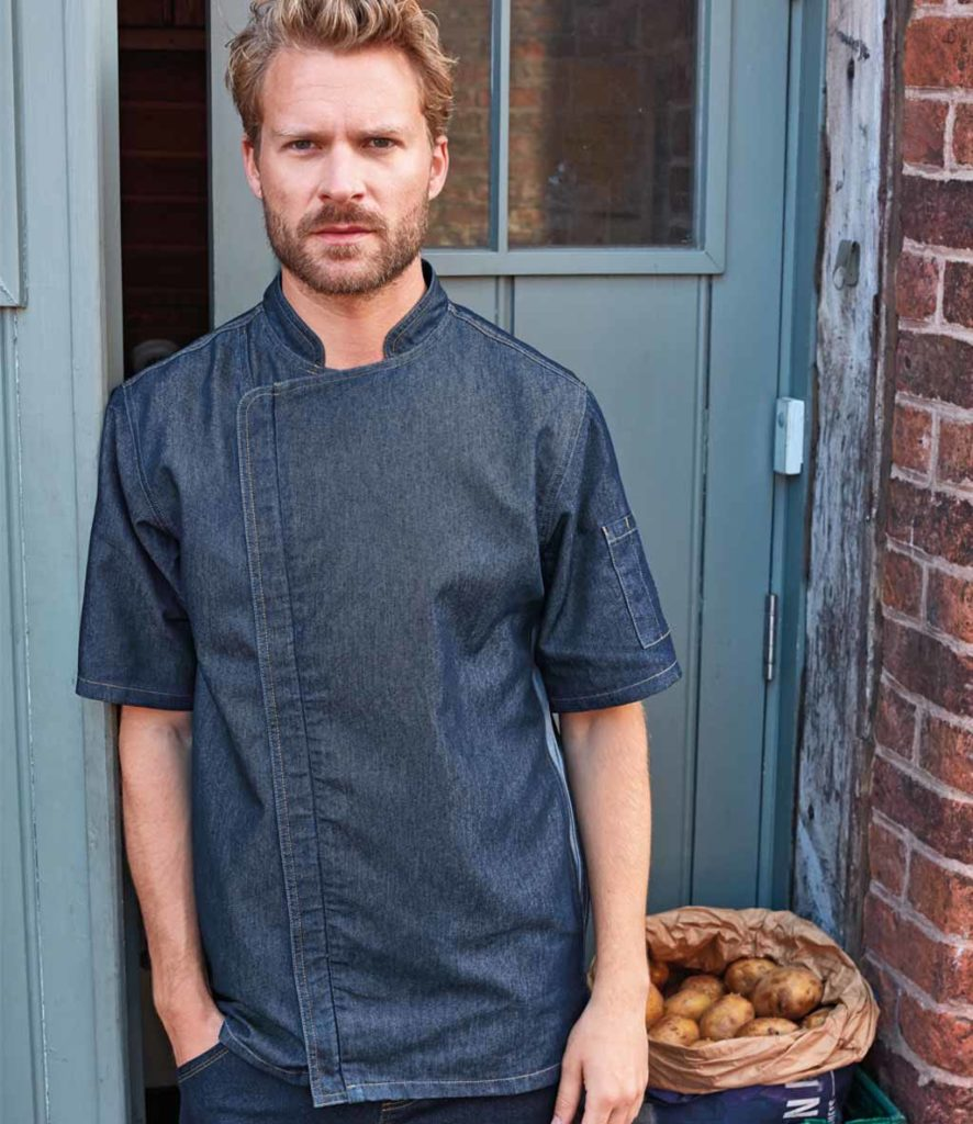 Premier Short Sleeve Zipped Chefs Jacket - PR906