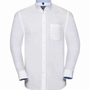 Russell Collection Long Sleeve Tailored Washed Oxford Shirt – 920M