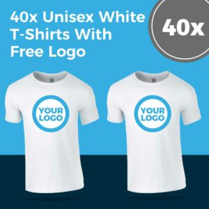 40x White Printed T-Shirt Offer