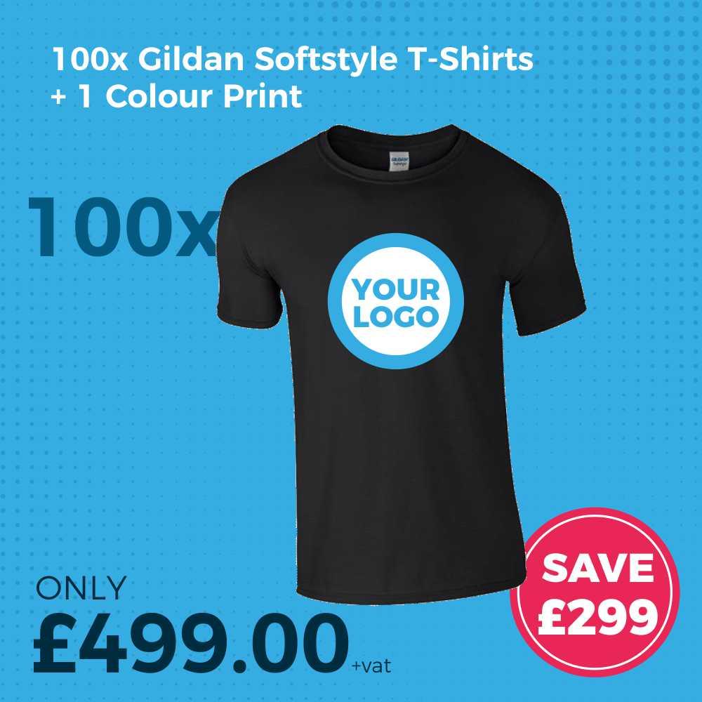GD01 100pc Gildan SoftstyleScreen Printed T-Shirt Deal