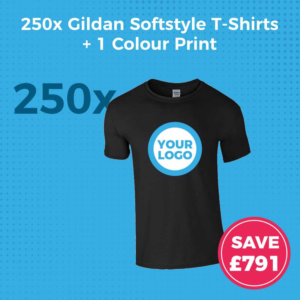 GD01 250pc Gildan Softstyle Screen Printed T-Shirt Deal - Product Image