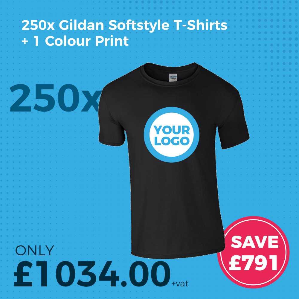 GD01 250pc Gildan Softstyle Screen Printed T-Shirt Deal