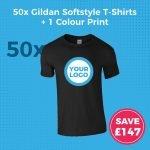 GD01 50pc Gildan Softstlye Screen Printed T-Shirt Deal - Product Image