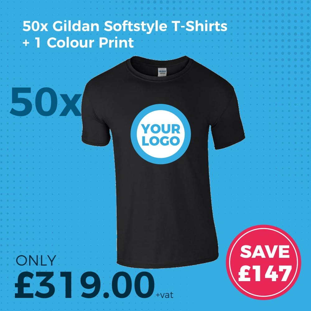 GD01 50pc Gildan Softstlye Screen Printed T-Shirt Deal