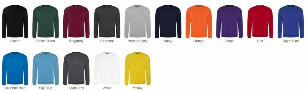 RX301 Sweatshirt Colours